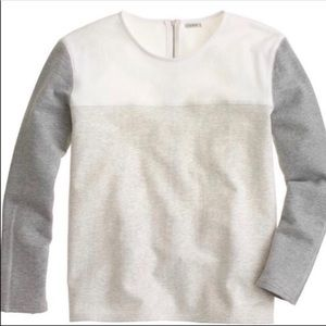 J crew Gray and white color block sweatshirt